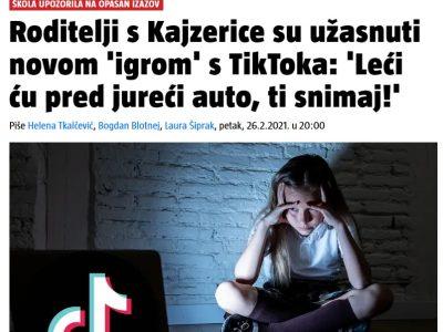 """24 sata: """"Roditelji s Kajzerice su užasnuti novom 'igrom' s TikToka: 'Leći ću pred jureći auto, ti snimaj!"""""""