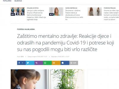 """T portal: """"Zaštitimo mentalno zdravlje: Reakcije djece i odraslih na pandemiju Covid-19 i potrese koji su nas pogodili mogu biti vrlo različite"""""""