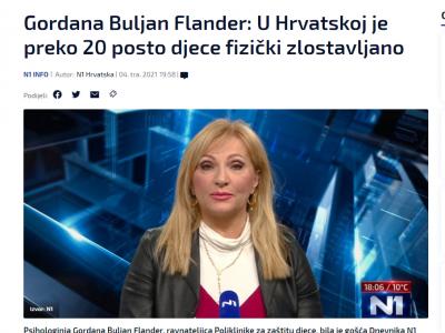 """N1: """"Buljan Flander: 'Četrdeset godina radim s obiteljima i znam koliko mogu biti opasne po djecu, pogledajte statistiku'"""""""