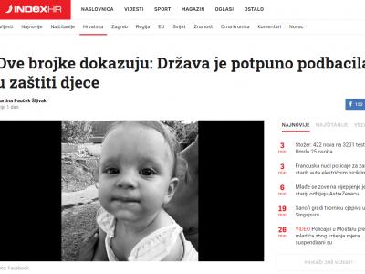 """Index.hr: """"Ove brojke dokazuju: Država je potpuno podbacila u zaštiti djece"""""""