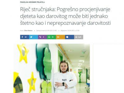 """Tportal.hr: """"Pogrešno procjenjivanje djeteta kao darovitog može biti jednako štetno kao i neprepoznavanje darovitosti"""""""