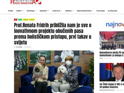 """Radio Banovina: """"Prof. Renata Fridrih približila nam je sve o inovativnom projektu obučenih pasa prema holističkom pristupu, prvi takav u svijetu"""""""