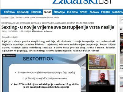"""Zadarski list: """"Sexting – u novije vrijeme sve zastupljenija vrsta nasilja"""""""