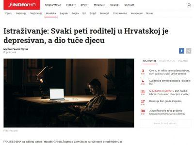 """INDEX: """"Istraživanje: Svaki peti roditelj u Hrvatskoj je depresivan, a dio tuče djecu"""""""