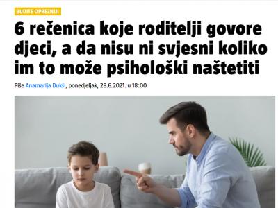 """24 sata: """"6 rečenica koje roditelji govore djeci, a da nisu ni svjesni koliko im to može psihološki naštetiti i što reći umjesto toga"""""""