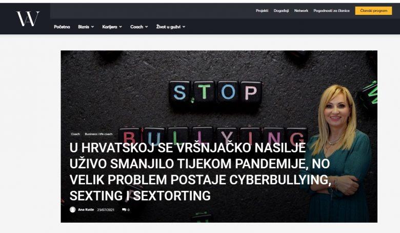 """Women in Adria: """"U Hrvatskoj se vršnjačko nasilje uživo smanjilo tijekom pandemije, no velik problem postaje cyberbullying, seksting i sextorting"""""""