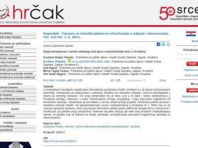 """Objavljen izvorni znanstveni članak """"Rasprostranjenost i navike sekstinga kod djece srednjoškolske dobi u Hrvatskoj"""" stručnjaka Poliklinike"""