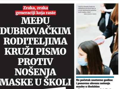 """Dubrovački list: """"Među dubrovačkim roditeljima kruži pismo protiv nošenja maske u školi"""""""