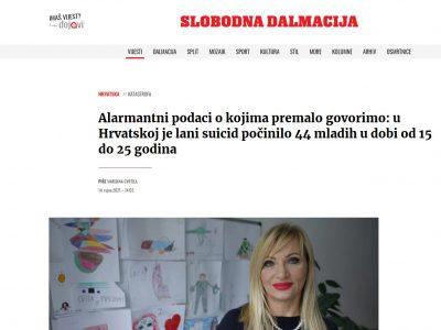 Slobodna Dalmacija: Alarmantni podaci o kojima premalo govorimo: u Hrvatskoj je lani suicid počinilo 44 mladih u dobi od 15 do 25 godina